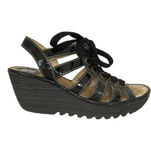 Fly London Yito Patent Leather Wedge Sandal 38